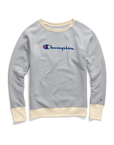 Champion Damen Powerblend Boyfriend Crew Sweatshirt, Oxford Grey Heather/Haferflocken – Grafik, X-Small