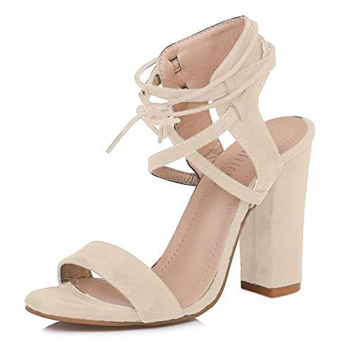 Minetom Sandalen Damen Riemchen Sandaletten 10 cm Party Blockabsatz High Heels Schuhe Elegante Abendschuhe Übergröße Mode Shoes Sommer Beige EU 35