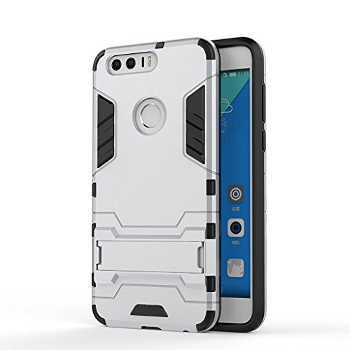 Honor 8 Case ,Huawei Honor 8 Case, VVIA(TM) Dual Layer Armor Hard Slim Hybrid Kickstand Phone Cover Case for Honor 8 (Black & Silver)