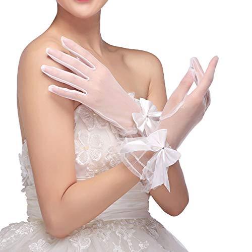 Amosfun Braut Hochzeit Spitze Handschuhe Brautkleid Handschuhe für Hochzeitsgesellschaft Tanzparty (weiß)