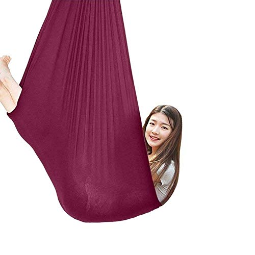 Indoor Therapy Swing For Adults Cuddle Hammock Adjustable Aerial Yoga Autism ADHD And SPD Has A Calming Effect On Children With Sensory Needs (Color : Wine red, Size : 150x280cm/59x110in)