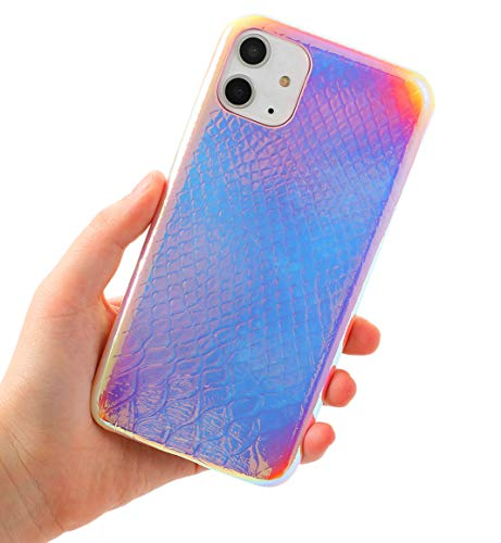 Holographic Mermaid Case Compatible with iPhone 11,Easeu [Super Slim] [Gorgeous] Iridescent Back Cover [Color Changing] Anti-Scratch Crocodile Pattern Thin Reflective Rainbow Case 6.1 inch