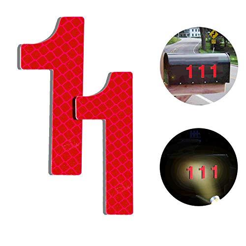 Baiway Reflektierende Hausnummer 1 aus Edelstahl, 7cm Selbstklebende Hausnummer, Klebend Hausnummer Schild zum Aufkleben für Briefkasten/Mailbox/Wand/Straßen und Tür (2er Pack)