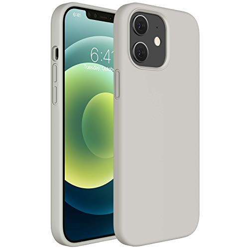 Miracase Compatible with iPhone 12 Case,Designed for iPhone 12 Pro Case 6.1 inch(2020),Liquid Silicone Gel Rubber Full Body Protection Shockproof Drop Protection Case(Stone)