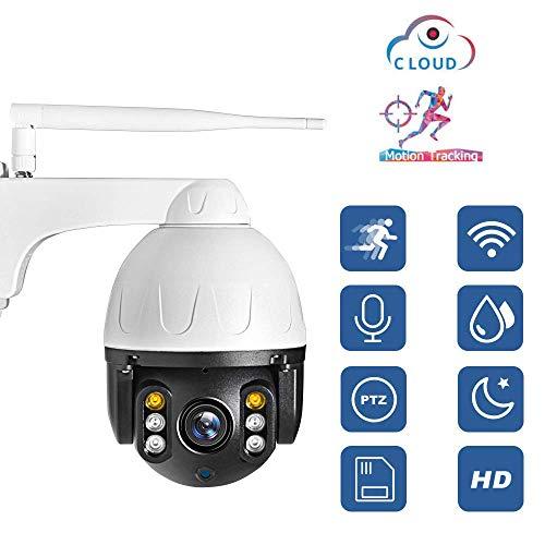 Automatische wifi-camera, waterdicht buitenshuis, volledig metalen bewakingscamera met nachtzicht, 2-weg audio en bewegingsdetectie, wit, nocard, Nocard, Wit