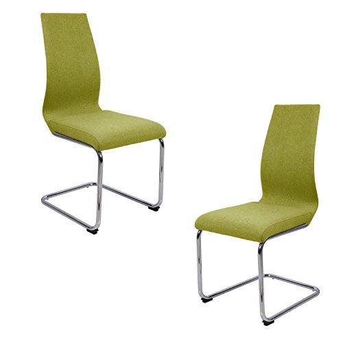 Meubletmoi Lot 2 chaises Salle à Manger Verte anis - idéal Salle à Manger réception - Pieds en Metal chromé - PEPS