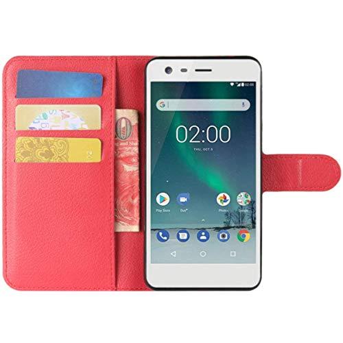 HualuBro Microsoft Lumia 532 Hülle, Premium PU Leder Leather Wallet HandyHülle Tasche Schutzhülle Flip Hülle Cover für Microsoft Lumia 532 Smartphone (Rot)