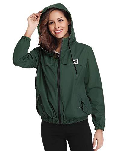 Aibrou Damen Leichte Regenjacke wasserdicht Kurze Windjacke mit Kapuze für den Außenbereich (Dunkelgrün, X-Small)