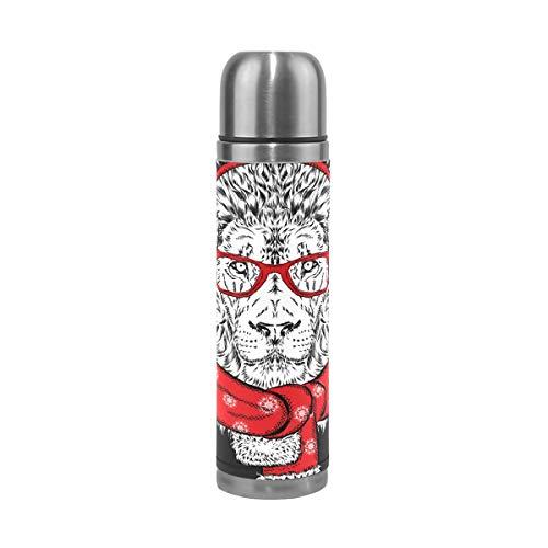 Tizorax - Taza térmica de acero inoxidable con diseño de león en invierno con bufanda y auriculares de doble pared al vacío, botella de agua de viaje, taza de café de 17 onzas