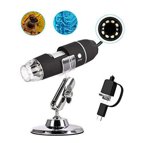 iitrust Digital Microscopio USB portatil 1000x Endoscopio, 3 EN 1, con 8 Luces LED, Mini Cámara y Soporte de Metal, Compatible con Windows Vista/7/8/10, MacOS x, Android (con OTG)