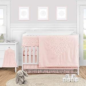 Sweet Jojo Designs Pink Boho Bohemian Baby Girl Nursery Crib Bedding Set – 5 Pieces – Solid Color Blush Shabby Chic Princess Luxurious Luxury Elegant Vintage Designer Boutique Victorian Embroidered