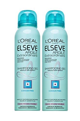 L'Oréal Paris Elsève Shampoing Sec Argile pour Cheveux Normaux à Gras 150 ml Lot de 2