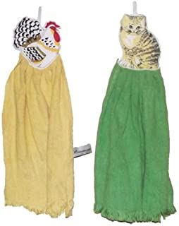Juego de 4–Paños de microfibra–Gallo y de gatos–42x 25cm