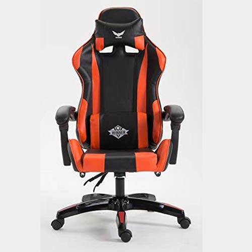 Ergonomics with lumbar support Gaming Chair with Bluetooth Ergonomic Adjustable Racing Task Swivel Executive Computer Chair Headrest and Lumbar Support For home and work (Color : Red With Footrest)