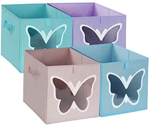 Aufbewahrungsbox Stoff, Kallax Box Einsatz Faltbox Korb Kisten 30X30X30cm,Boxen Aufbewahrung mit Griffen,für regal, Würfelregal,Spielzeug,Kleidung,4er-Set (4 Farben)