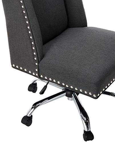 Christopher Knight Home Quentin Desk Chair, Dark Grey + Chrome