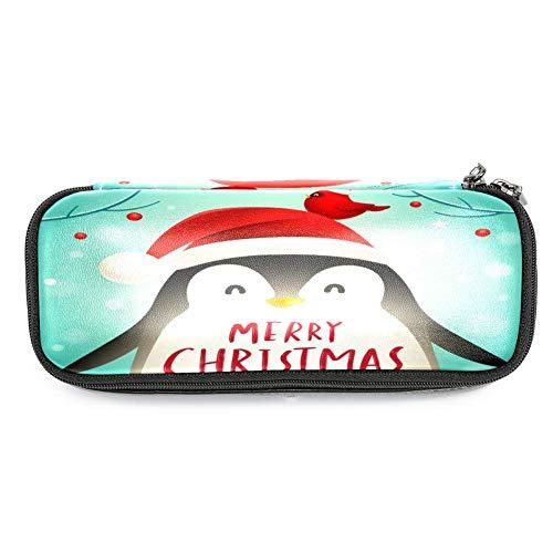 Multifunktionales Federmäppchen, großes Fassungsvermögen, Leder, Stiftehalter, Schreibwaren-Organizer mit Reißverschluss für Schule und Büro – süßer Pinguin mit Weihnachtsmütze