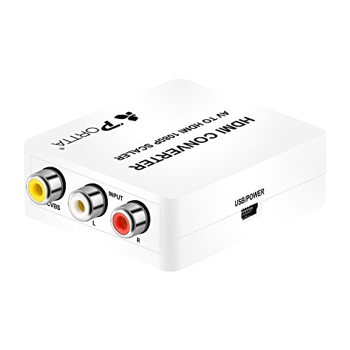 Portta HDMI Converter Convertisseur v1.3 Transformer AV/CVBS Composé en HDMI Mini-Converter Convertisseur avec le Câble d'USB Supporte 720p 1080p pour TV PC PS4 DVD en Blanc