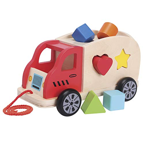 New Classic Toys - 10564 - Ziehund Sortierspiel Auto mit 6 Formen