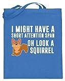 Photo de Générique I Might Have A Short Attention Span. Oh, Look! A Squirrel! - Mens hyperactives, ADHD - Sac en jute (avec anse longue) - Bleu - bleu, 38cm-42cm