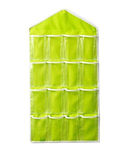 Milopon Wand hängenden Unterwäsche Beutel 16 Tasche Tür zurück Aufbewahrungstasche Hängende Anti-Schimmel/Anti-Bakteriell Utensilo Mehrschicht-Aufbewahrungstasche Hängeorganizer grün