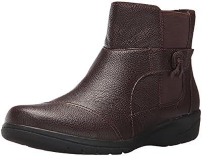 Clarks Women's Cheyn Work Ankle Bootie, Dark Brown Leather, 5.5 M US