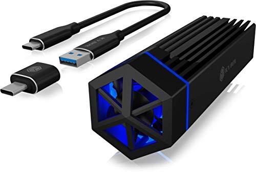 ICY BOX M.2 NVMe 60713 - Carcasa con Ventilador y iluminación RGB USB 3.1 Gen2 (10 Gbps) para SSD M.2, Aluminio, Color Negro