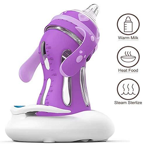 FRWANG USB-Babyflaschenwärmer Babyflasche Heizung Set Intelligent Temperaturänderung Infrared Penetrierende Heizung 135 ° Bogen Design geeignet für Zuhause Outdoor-Reisen,Lila
