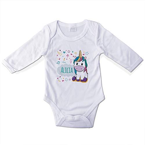 Bodys Bebé Personalizados con Nombre. Regalos Personalizados para Bebés. Bodies Personalizados Manga Larga. Varias Tallas. Unicornio