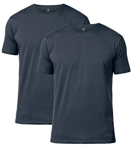 LAPASA 2er Pack Herren T-Shirts Baumwolle - Business Kurzarm Unterhemd Rundhalsausschnitt &V-Ausschnitt M05 & M06