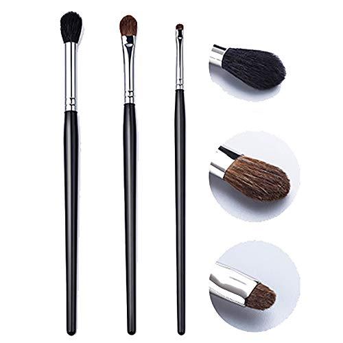 Pinceau De Maquillage Set 3 Pièces Ombre À Paupières Tube Cuivre Cheveux Brosses Cosmétiques Professionnels Brosses Maquillage Animaux Pinceaux Outils Oeil Beauté Brosses Haut De Gamme,Noir