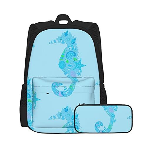 Asual - Juego de mochila y estuche para lápices, combinación, mochila de trabajo y estudio y bolsa de cosméticos con combinación Sea Dream Secaballses azul