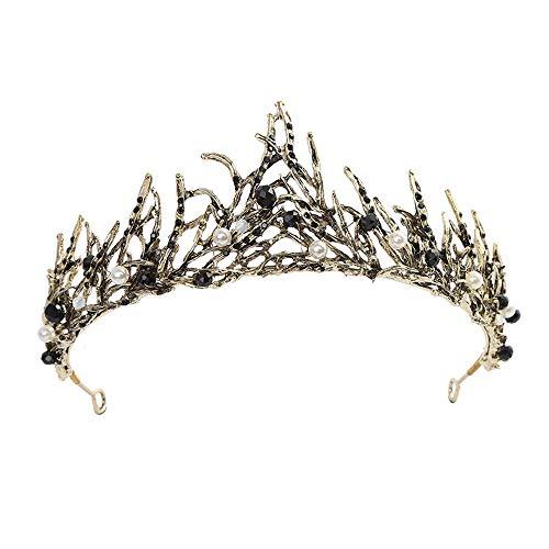 Vintage Krone Prinzessin Haar Krone Tiara Diadem Frauen Schwarze Krone Gothic Barock Königin Krone Haarkrone mit Strass Damen Kopfschmuck für Karneval Kostüme...