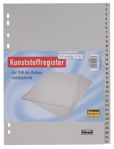 Idena 302009 - Register nummeriert 1-31 für DIN A4, aus Kunststoff, 31-teilig, volldeckend, grau, 1 Stück