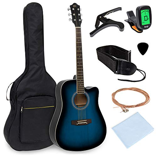 Best Choice Products 41in Full Size Beginner Acoustic Cutaway Guitar Kit with Padded Case, Strap, Capo, Extra Strings, Digital Tuner, Picks (Blue)