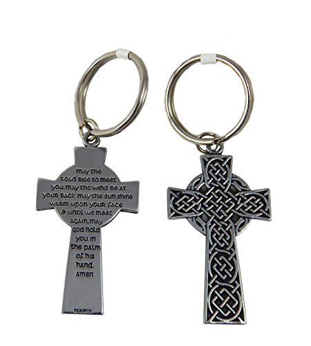 Celtic Cross Key Ring May the Road Rise Set of 2