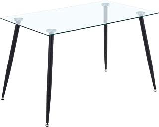 GOLDFAN Table à Manger en Verre Rectangulaire Moderne Table en Verre Table de Cuisine Salon Bureau Salle à Manger, Noir