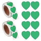 GOTH Perhk - 1000 adesivi a forma di cuore, autoadesivi, per matrimonio, San Valentino, compleanno, imballaggio e decorazione per scrapbooking (verde)