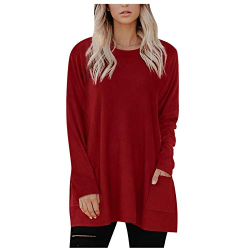 YSLMNOR Solid Color Pullover Women's Long Sleeve Round Neck Top with Pocket Blouses Loose T Shirt Red