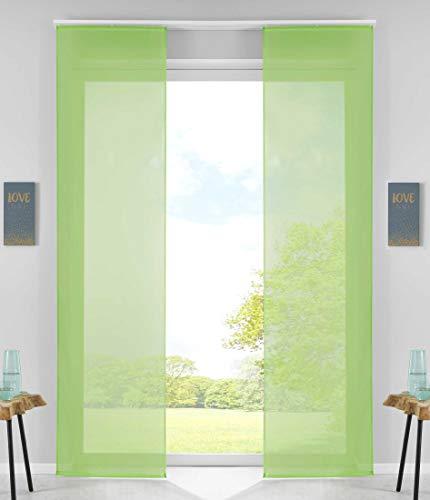 2er Set Schiebegardinen Flächenvorhänge Vorhang Gardine Schiebe HxB 245x60 cm Apfelgrün Komplett mit Paneelwagen Beschwerungsstange, 85589N2