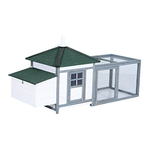 PawHut 77' Chicken Coop Wooden Hen House Rabbit Hutch Poultry Cage Pen Weather-Resistant Backyard with 2-Part Nesting Box and Run - White/Grey