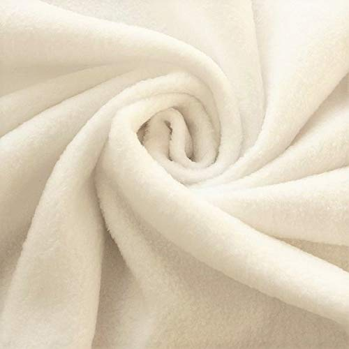 STOFFKONTOR Polar Fleece Stoff Meterware, Fleecestoff zum Nähen mit Antipilling Eigenschaften - Creme-Weiss