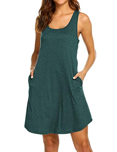 LuckyMore Tank Dress with Pockets for Women Short Summer Racerback Flowy Shift Dress Dark Green L
