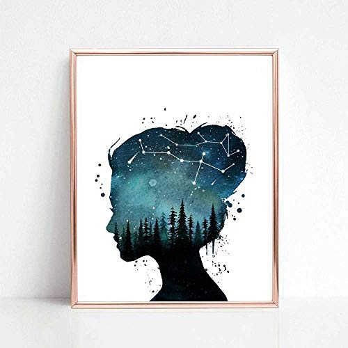 Girl Room Art Print, Watercolor Forest, Starry Sky Art, Woman Wall Art, Creative Artwork, Girl Gift Idea, Gift for Her, 8x10 inch No Frame