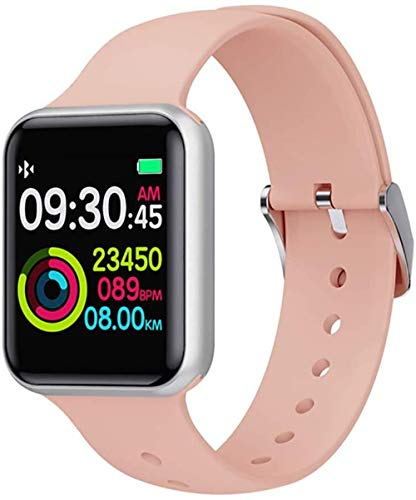 Monitor de actividad física, monitor de frecuencia cardíaca HD, monitor de presión arterial, rastreador de información, recordatorio de llamadas, pulsera para hombre, color rosa