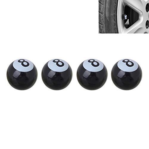 GUPENG Staubkappen des Reifenventils Universal-8mm American Billiards No.8 Kugel-Art-Plastikauto-Reifen Ventilkappen Auto Dekoration Zubehör, Geeignet for Auto 4 Stück (schwarz) (Color : Black)