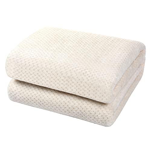 YOOFOSS Manta de Microfibra 150x200 cm Mantas para Sofás Manta de Cama Colcha Estar Viajes Cómodo Cálida para Todas Las Estaciones Beige-Blanco