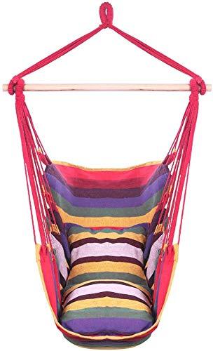 Hamaca Silla Colgante Cuerda colgante Silla de hamaca Shain Swing Asiento de calidad tejido de algodón Cómodo sillas colgantes para interiores, al aire libre, hogar, patio, patio, 2 cojines de asiento