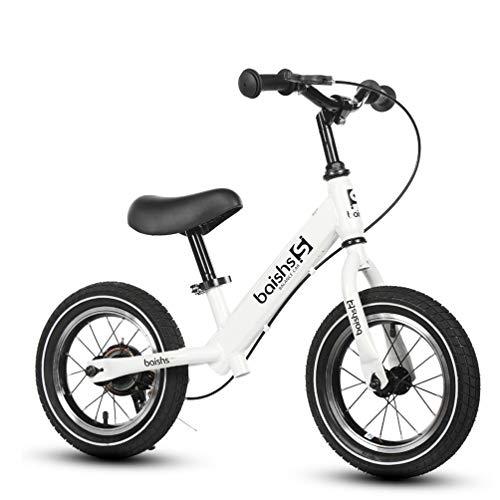 XMAGG Bicicletta Senza Pedali, 12'Balance Bike Manubri Morbidi, Pneumatici Migliorati, Telaio e Supporto in Acciaio al Carbonio, con Freno, Adatto per 2-6 Anni Bambino,White