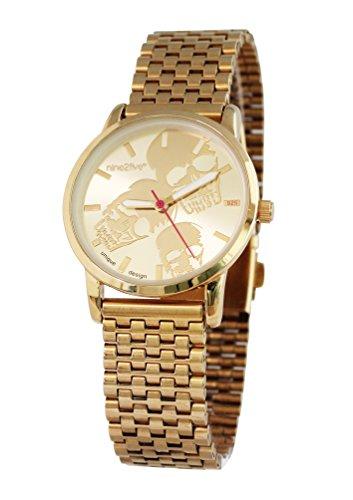 nine2five abns07glgl mujeres del oro inoxidable banda esfera de dos tonos reloj